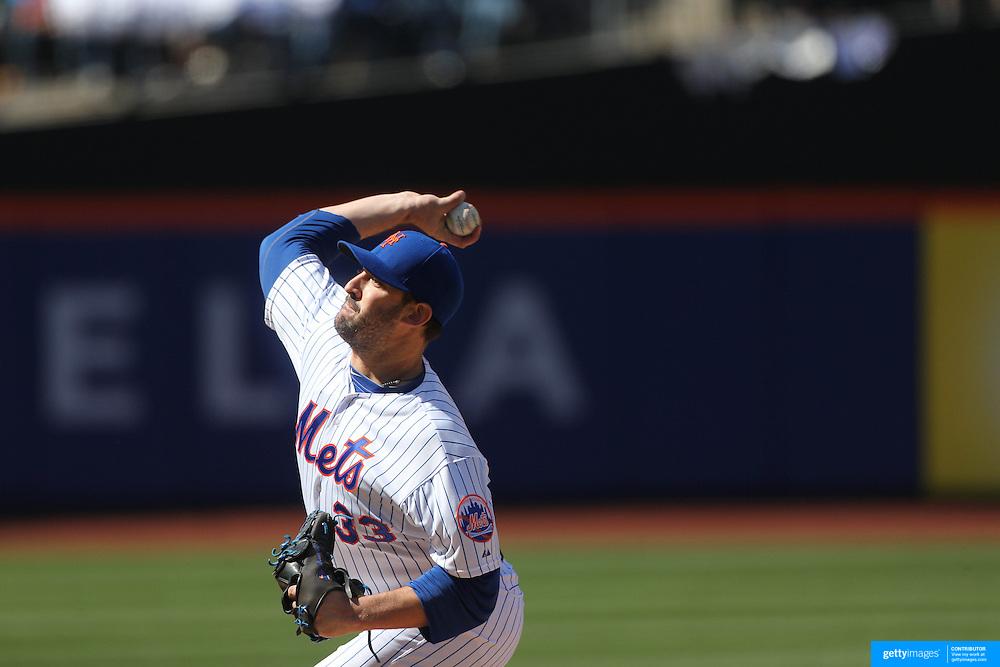 Pitcher Matt Harvey, New York Mets,  pitching during the New York Mets Vs Miami Marlins MLB regular season baseball game at Citi Field, Queens, New York. USA. 19th April 2015. Photo Tim Clayton
