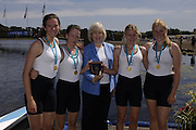 2006, National Rowing Championships,  Strathclyde Country Park,  Motherwell, SCOTLAND. Patricia FERGUSON, SMP, Minister of tourism, Culture and Sport, presenting, Henley Rowing Club. after winning the WJ4X,   Sunday, 16.07.2006.  Photo  Peter Spurrier/Intersport Images email images@intersport-images.com. Finals Day Rowing Course, Strathclyde Country Park,  Motherwell, SCOTLAND.
