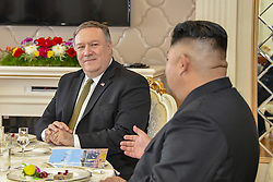 October 7, 2018 - Pyongyang, North Korea - North Korean Leader Chairman Kim Jong Un, right, during a working lunch with U.S. Secretary of State Mike Pompeo October 7, 2018 in in Pyongyang, Democratic Peoples Republic of Korea. Pompeo later said that they agreed to hold a summit between Kim and President Trump as soon as possible. (Credit Image: © State Department via ZUMA Wire)