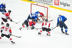 KURALT Anze (SLO) vs YAMADA Kotaro (JAP), FUKUFUJI Yutaka (JAP) during OI pre-qualifications of Group G between Slovenia men's national ice hockey team and Japan men's national ice hockey team, on February 9, 2020 in Ice Arena Podmezakla, Jesenice, Slovenia. Photo by Peter Podobnik / Sportida
