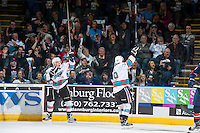 KELOWNA, CANADA - MARCH 25: Tyson Baillie #24 and Dillon Dube #19 of Kelowna Rockets celebrate a goal against the Kamloops Blazers on March 25, 2016 at Prospera Place in Kelowna, British Columbia, Canada.  (Photo by Marissa Baecker/Shoot the Breeze)  *** Local Caption *** Tyson Baillie; Dillon Dube;
