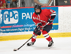 MOON TOWNSHIP, PA - SEPTEMBER 14:  Sarah Quaranta #8 of the Robert Morris Colonials handles the puck in the third period during the game against the Toronto Jr. Aeros at the 84 Lumber Arena on September 23, 2016 in Moon Township, Pennsylvania. (Photo by Justin Berl)