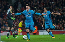 LONDON, ENGLAND - Tuesday, February 23, 2016: Barcelona's Lionel Messi celebrates scoring the second cgoal against Arsenal during the UEFA Champions League Round of 16 1st Leg match at the Emirates Stadium. (Pic by Kirsten Holst/Propaganda)