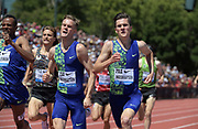 Jun 30, 2019; Stanford, CA, USA; Filip Ingebrigtsen (right) and brother Jakob Ingebrigtsen (NOR) place third and fourth  in the Bowerman  Mile in 3:51.28 and 3:51.30 during the 45th Prefontaine Classic at Cobb Track & Angell Field.