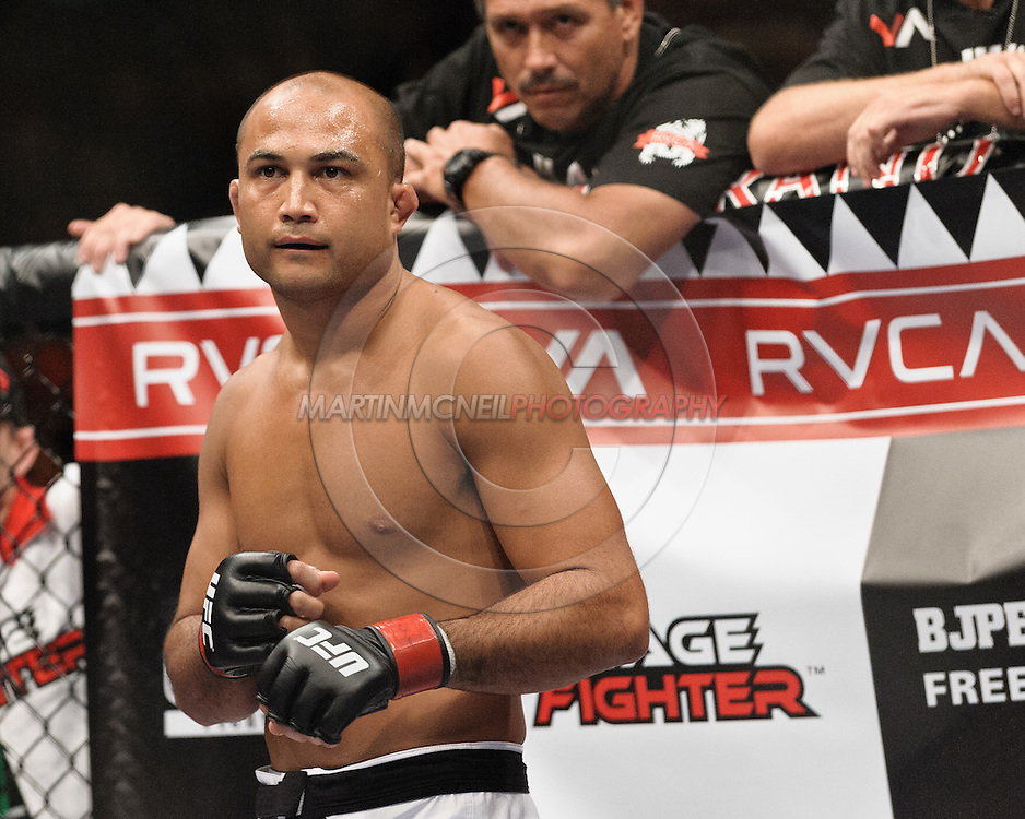 "LAS VEGAS, NEVADA, MAY 24, 2008: UFC lightweight division champion BJ Penn stand ready in his corner ahead of his fight at ""UFC 84: Ill Will"" inside the MGM Grand Garden Arena in Las Vegas"