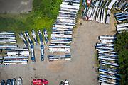 Aerial view of tanker Trucks