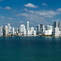 Brickell Avenue and downtown Miami with Biscayne Bay in the foreground.  This version is watermarked, contact us to license and clean version.