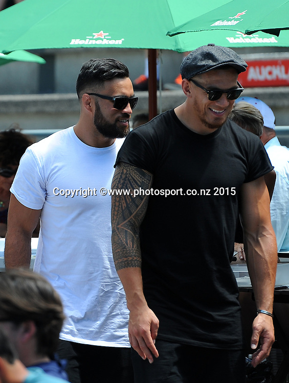 All Blacks Liam Messam (L) and Sonny Bill Williams at the Heineken Open. ASB Tennis Centre, Auckland, New Zealand. Wednesday 14 January 2015. Copyright photo: Chris Symes/www.photosport.co.nz