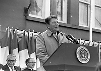 American President Ronald Reagan in Ballyporeen, Co Tipperary during his visit to Ireland, 03/06/1984. (Part of the Independent Newspapers Ireland/NLI Collection).