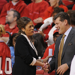 Mar 2, 2009; Piscataway, NJ, USA; Rutgers head coach C. Vivian Stringer (left) shakes hands with #1 Connecticut head coach Geno Auriemma (right) prior to their team's matchup at the Louis Brown Athletic Center.