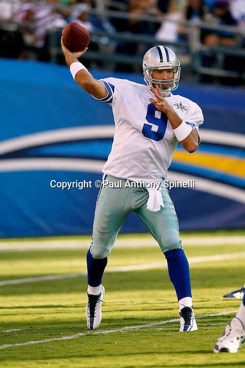 Dallas Cowboys quarterback Tony Romo (9) throws a first quarter pass during a NFL week 2 preseason football game against the San Diego Chargers on Saturday, August 21, 2010 in San Diego, California. The Cowboys won the game 16-14. (©Paul Anthony Spinelli)