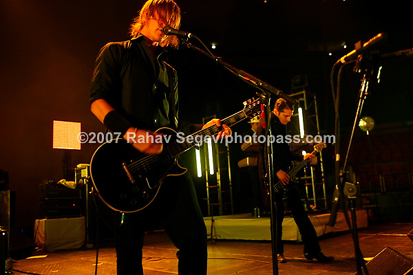 Interpol playing Madison Square Garden on September 14, 2007. .Paul Julian Banks - lead vocals and guitar.Daniel Kessler -guitar.Carlos Dengler -bass.Sam Fogarino -drums