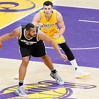 19 February 2016: San Antonio Spurs center Boris Diaw (33) posts up Los Angeles Lakers center Roy Hibbert (17) during the San Antonio Spurs 119-113 victory over the Los Angeles Lakers, at the Staples Center, Los Angeles, California, USA.