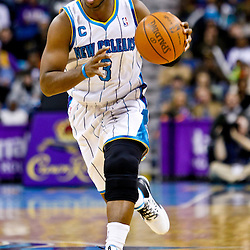 December 26, 2010; New Orleans, LA, USA; New Orleans Hornets point guard Chris Paul (3) drives with the ball against the Atlanta Hawks during the first half at the New Orleans Arena.  Mandatory Credit: Derick E. Hingle