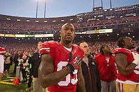 12 January 2013: Tight end (85) Vernon Davis of the San Francisco 49ers stands during the National Anthem before playing against the Green Bay Packers before the 49ers 45-31 victory over the Packers in an NFL Divisional Playoff Game at Candlestick Park in San Francisco, CA.