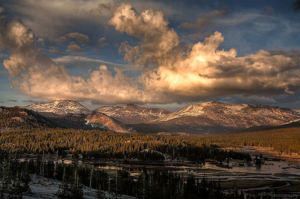 Thunder storms roll over Tuolumne Meadows and the Sierra Nevada Mountains. Yosemite National Park