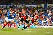 Last gasp defending from Morecambe's Andy Parrish to prevent a Portsmouth equaliser during the Sky Bet League 2 match between Portsmouth and Morecambe at Fratton Park, Portsmouth, England on 22 August 2015. Photo by David Charbit.