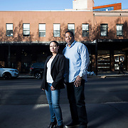 May 3, 2017 - New York, NY : Tiffany, left, and Kevin Chiles pose for a portrait on Washington Street in Chelsea on Wednesday afternoon. The two are the founders and publishers of Don Diva magazine.  CREDIT: Karsten Moran for The New York Times