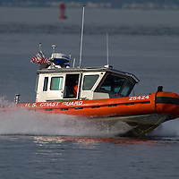The USCG Defender class boat , also called response boat-small (RB-S), is a standard boat introduced by the United States Coast Guard in July 2003. The boats are 25 feet in length and powered by twin 225 hp (168 kW) Honda outboard motors, they are capable of speeds in excess of 46 knots (85 km/h) and have a range of 105 or 150 nautical miles (278 km), depending on the type of fuel tanks used. The boat can launch with a two-person crew, but has a carrying capacity for 10 persons.  The boat pictured here is 25424 stationed at Sandy Hook NJ