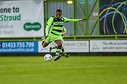 Anthony Jeffery shoots and scores FGR's first goal, 1-0 during the Glos Senior Cup Final match between Forest Green Rovers and Bishops Cleeve at the New Lawn, Forest Green, United Kingdom on 2 May 2016. Photo by Shane Healey.