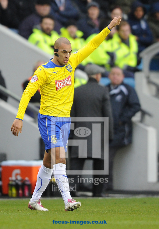 James Vaughan  of Huddersfield Town celebrates after they score the opening goal during the Sky Bet Championship match at The Den, London<br /> Picture by Alan Stanford/Focus Images Ltd +44 7915 056117<br /> 07/02/2015
