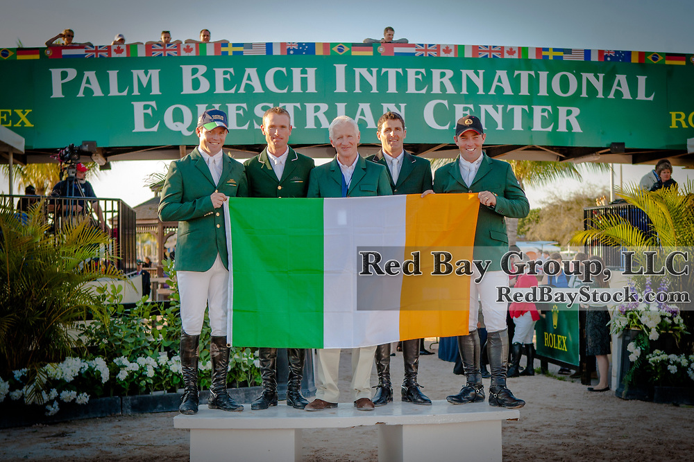 Team Ireland at the 2014 Furusiyya FEI Nations Cup held during the Winter Equestrian Festival in Wellington, Florida.
