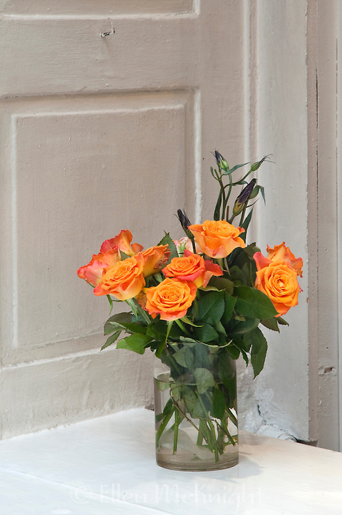 Roses in a store window in Stockholm, Sweden