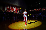 BLOOMINGTON, IN - FEBRUARY 25: Robert Johnson #4 of the Indiana Hoosiers is seen during player introductions against the Northwestern Wildcats at Assembly Hall on February 25, 2017 in Bloomington, Indiana. (Photo by Michael Hickey/Getty Images) *** Local Caption *** Robert Johnson