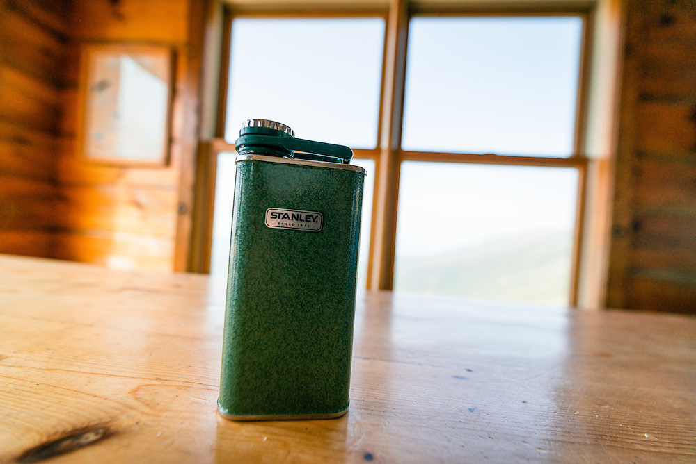 Stanley Flask with Jack Daniels honey whiskey a trail delight at Lake of the Clouds Hut
