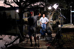 05 Sept  2005. New Orleans, Louisiana. Post hurricane Katrina.<br /> NBC anchor prepares to go live on air from Louisiana Street.<br /> Photo; ©Charlie Varley/varleypix.com