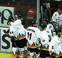 Icehockey. Qualification Olympic Games. Norway-Germany 8 january 2001. Norge-Tyskland, Jordal Amfi  Germany scoring first goal. Klaus Kathan and Leonard Socco, Germany (left).