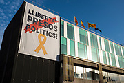 Banner supporting Catalan prisoners on the town hall of Sant Cugat del Valles, near Barcelona, Catalonia.