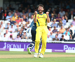 June 13, 2018 - London, England, United Kingdom - Michael Neser of Australia celebrate LBW on England's Alex Hales .during One Day International Series match between England and Australia at Kia Oval Ground, London, England on 13 June 2018. (Credit Image: © Kieran Galvin/NurPhoto via ZUMA Press)