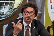 ROME, ITALY - SEPTEMBER 26: Danilo Toninelli, Minister of Infrastructure and Transport, during the press conference to present the first national day of seismic prevention at the Ministry of Infrastructure and Transport on September 26, 2018 in Rome, Italy.