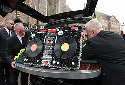 © Licensed to London News Pictures.22/04/2016. Bristol, UK. The funeral of DEREK SERPELL-MORRIS known as DJ DEREK at St Agnes Church, St Pauls, Bristol. Derek then aged 73 went missing on 10 July 2015 in Bristol. His remains were discovered by a member of the public by Filton airfield near Cribbs Causeway on 10 March 2016. A former accountant at Cadburys, Derek became a DJ playing 60s rocksteady, reggae, ska, dancehall and soul music and in his middle age became a well known and respected DJ of Black and Jamaican music in Bristol and further afield.  He played numerous gigs across the UK and appeared at many festivals including Glastonbury Festival. He also released his own compilation album, worked with Massive Attack and appeared in a Dizzee Rascal video. Photo credit : Simon Chapman/LNP