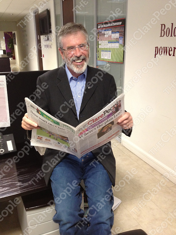 Gerry Adams at the Clare People office