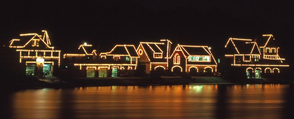 Boathouse Row Historic Site, East Bank  Schuylkill River, Fairmount Water Works, Fairmont Park, Philadelphia, PA