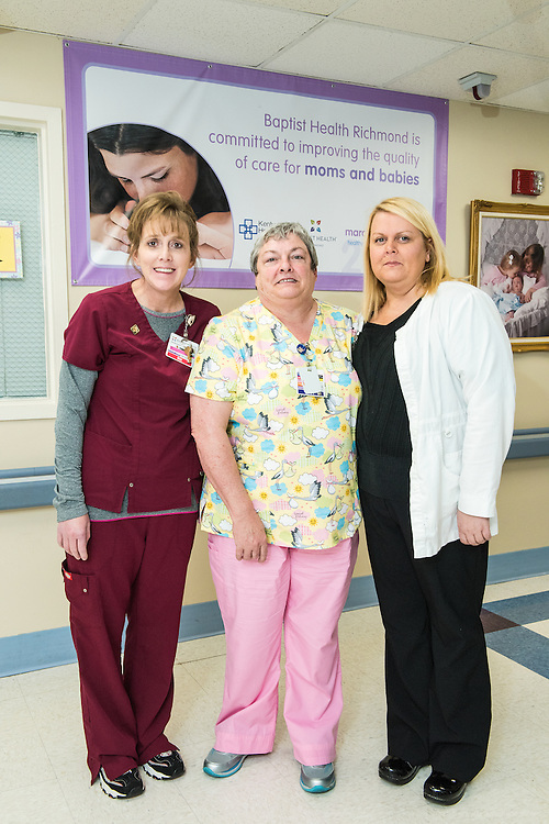 March of Dimes nurses Rebekah Jones, Mary Short and Jenny Graves, photographed Wednesday, May 20, 2015 at Baptist Health in Richmond, Ky. (Photo by Brian Bohannon/Videobred for Baptist Health)