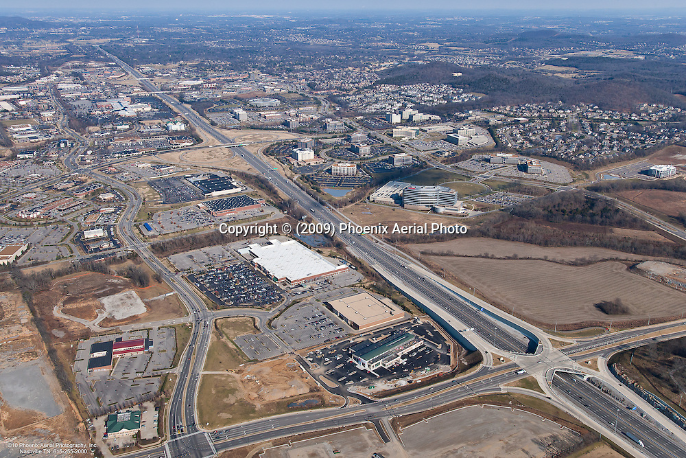 Aerial photo of the Interstate 65 and McEwen Drive intersection showing retail and commercial property in the CoolSprings area.