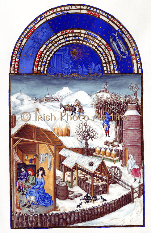 'The Très Riches Heures du Duc de Berry Is a French Gothic illuminated manuscript. The Très Riches Heures is a prayer book created for John, Duke of Berry, by the Limbourg brothers between 1412 and 1416. The book was completed by Jean Colombe between 1485 and 1489. The manuscript is held at the Musée Condé, Chantilly, France. this folio (February)shows a fenced-in farm with a house, a barn  beehives and a dovecote. Inside the house, a woman and two young men warm themselves in front of a fire. Outside, a man with bundles of sticks at his feet cuts down a tree with an axe.'