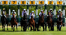 Anapurna redden by jockey Frankie Dettori (2nd right) at the start during the RaceBets Money Back All Losers Oaks Trial Fillies' Stakes during the The Derby Trial Day at Lingfield Racecourse.