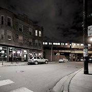 Chicago, Bucktown neighborhood, Milwaukee and Western Avenues, Green Eye Lounge next to the Blue Line Western Avenue Station