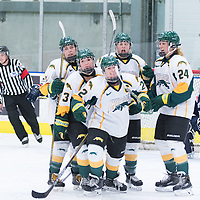 Celebration after 5th year defender Alexis Larson's (22) goal during the Women's Hockey home game on October 8 at Co-operators arena. Credit: Arthur Ward/Arthur Images