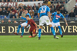 October 14, 2017 - Rome, Italy - Jose Maria Callejon, Diego Perotti during the Italian Serie A football match between A.S. Roma and S.S.C. Napoli at the Olympic Stadium in Rome, on october 14, 2017. (Credit Image: © Silvia Lor/Pacific Press via ZUMA Wire)
