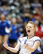 New Braunfels' Ali Hubicsak (6) celebrates a point in the second set of the Class 5A state championship against Coppell at the Curtis Culwell Center in Garland, Texas, on November 17, 2012.  (Stan Olszewski/The Dallas Morning News)