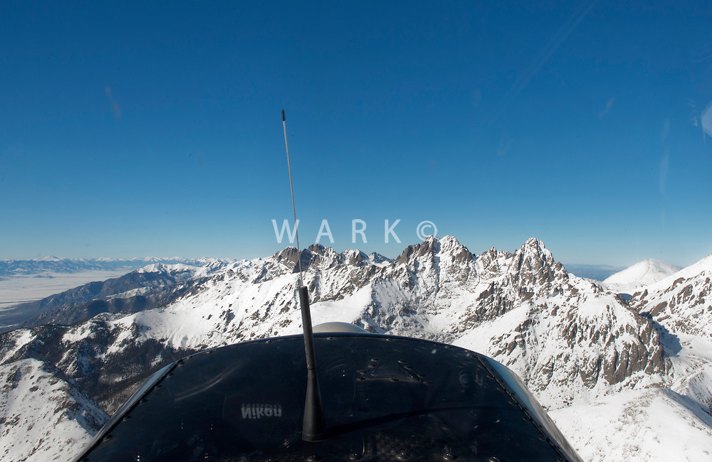 Husky nose over Colorado Rockies. Dec 27, 2013