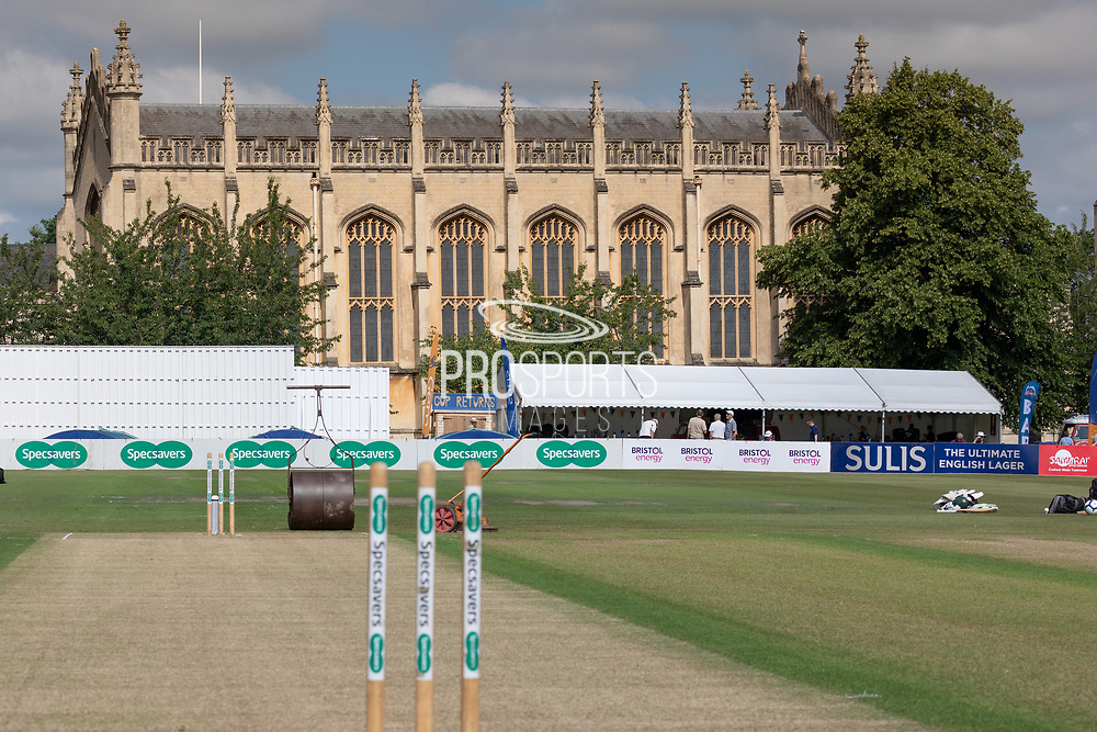 The wicket before the Specsavers County Champ Div 2 match between Gloucestershire County Cricket Club and Leicestershire County Cricket Club at the Cheltenham College Ground, Cheltenham, United Kingdom on 15 July 2019.