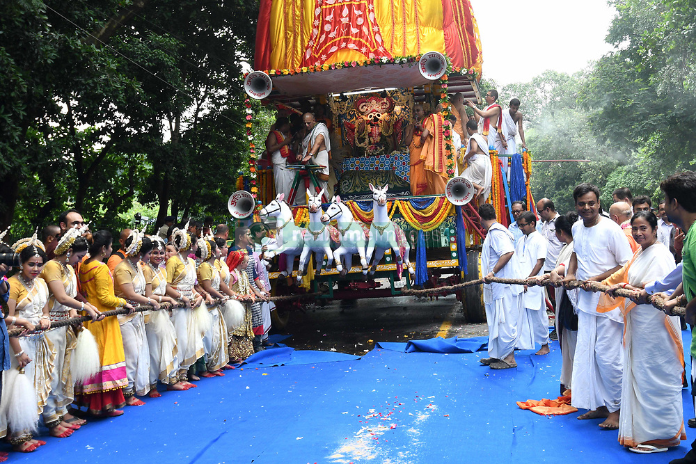 July 3, 2017 - Kolkata, West Bengal, India - Mamata Banerjee Chief Minister of West Bengal inauguration and join the ritual parts   at the  ISKCON 46th Ultta Rath Yatra on July 03,2017 in Kolkata ,India.The three deities of Jagannath, Balabhadra and Subhadra are taken out in procession in specially made chariots called raths, which are pulled by devotees. (Credit Image: © Debajyoti Chakraborty/NurPhoto via ZUMA Press)