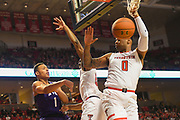 LUBBOCK, TX - MARCH 3: Desmond Bane #1 of the TCU Horned Frogs passes the ball against the defense of Keenan Evans #12 and Tommy Hamilton IV #0 of the Texas Tech Red Raiders during the game on March 3, 2018 at United Supermarket Arena in Lubbock, Texas. Texas Tech defeated TCU 79-75. Texas Tech defeated TCU 79-75. (Photo by John Weast/Getty Images) *** Local Caption *** Desmond Bane;Keenan Evans;Tommy Hamilton IV