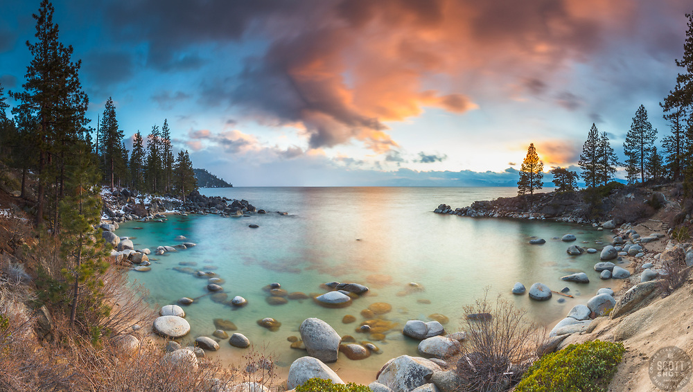 """Secret Cove Sunset 2"" - Stitched panoramic sunset photograph of Secret Cove on the east shore of Lake Tahoe, Nevada."
